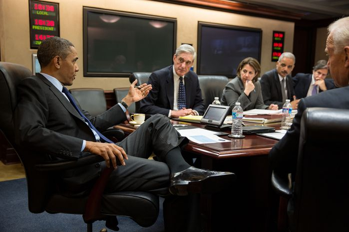 President Barack Obama meets with members of his national security team to discuss developments in the Boston bombings investigation, in the Situation Room of the White House, April 19, 2013. Pictured, from left, are: FBI Director Robert Mueller; Lisa Monaco, Assistant to the President for Homeland Security and Counterterrorism; Attorney General Eric Holder; Deputy National Security Advisor Tony Blinken; and Vice Persident Joe Biden. (Official White House Photo by Pete Souza)