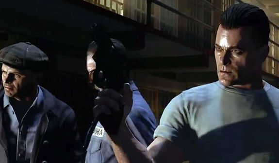 Actor Ray Liotta as Billy Handsome fights off zombies in Mob of the Dead, a new zombie map in the first person shooter Call of Duty: Black Ops II - Uprising DLC pack.