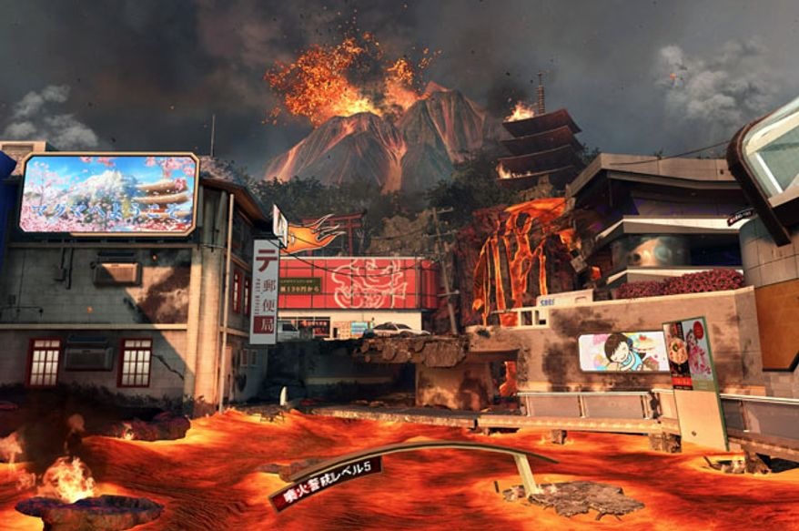 Avoid a river of magma in a new map from the downloadable content (DLC) pack Uprising for the first person shooter Call of Duty: Black Ops II.