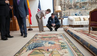 """The 9-by-4-foot tapestry, recovered in Texas in 2012, was formally handed over to the Embassy of Spain in Washington on Wednesday for """"repatriation."""" The 16th century tapestry was stolen from the cathedral in Roda de Isabena, Spain, in 1979."""