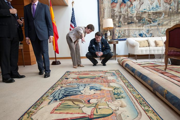 "The 9-by-4-foot tapestry, recovered in Texas in 2012, was formally handed over to the Embassy of Spain in Washington on Wednesday for ""repatriation."" The 16th century tapestry was stolen from the cathedral in Roda de Isabena, Spain, in 1979."