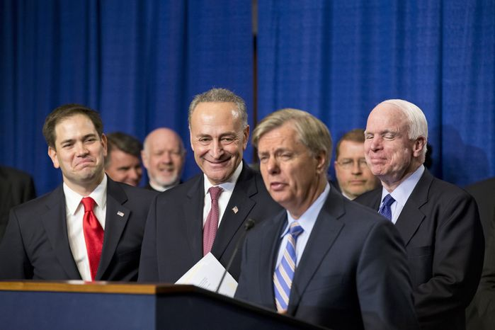 "The Senate's bipartisan ""Gang of Eight"" holds a news conference on Capitol Hill in Washington on Thursday, April 18, 2013. In front from left to right are Sen. Marco Rubio, Florida Republican; Sen. Charles E. Schumer, New York Democrat; Sen. Lindsey Graham, South Carolina Republican; and Sen. John McCain, Arizona Republican. The legislation would dramatically remake the U.S. immigration system by ushering in new visa programs for low- and high-skilled workers, requiring a tough new focus on border security, instituting a new requirement for all employers to check the legal status of their workers, and installing a path to citizenship for 11 million immigrants in the country illegally. (AP Photo/J. Scott Applewhite)"