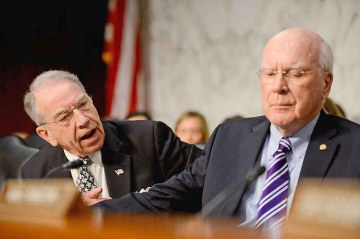 Sen. Chuck Grassley (R-Iowa), left, shouts at Sen. Charles Schumer (D-N.Y., not shown) as he speaks during a Senate Judiciary Committee hearing on immigration reform at the Hart Office Building on Capitol Hill, Washington, D.C., Monday, April 22, 2013. Also pictured is Chairman Patrick Leahy (D-Vt.), right. (Andrew Harnik/The Washington Times)