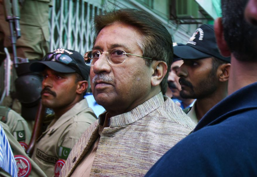 ** FILE ** Former Pakistani President Pervez Musharraf arrives at an anti-terrorism court in Islamabad on Saturday, April 20, 2013. (AP Photo/Anjum Naveed)