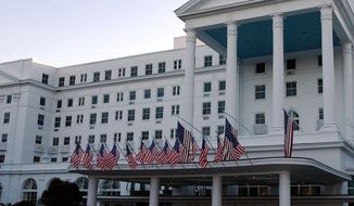 **FILE** The Greenbrier resort in White Sulphur Springs, W.Va., which has hosted presidents and once housed a secret bunker for Congress, is seen here in 2002. (Associated Press)