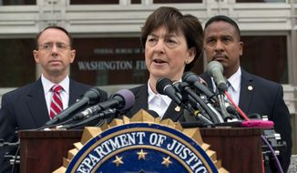 Valerie Parlave of the FBI's  Washington field office — flanked by Rod J. Rosenstein, U.S. attorney for Maryland (left) and Ronald Machen Jr., U.S. attorney for the District — speaks about the return to the U.S. of Mr. Toth, a former teacher at the Beauvoir school who fled the U.S. in 2008,