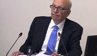 News Corp. Chairman Rupert Murdoch appears before Lord Justice Brian Leveson's inquiry into U.K media ethics on Wednesday, April 25, 2012, in London. (AP Photo/Pool)