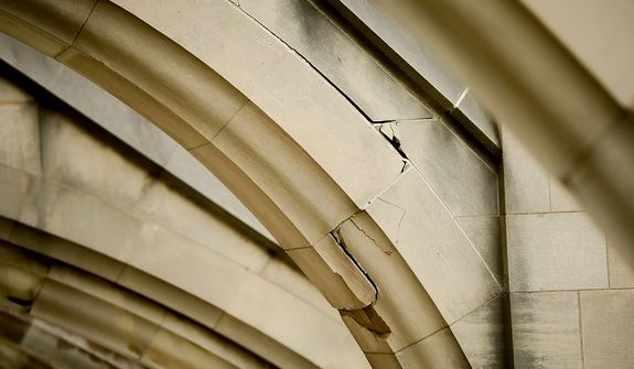 Large cracks like this one can be seen in many areas on the Washington National Cathedral which sustained millions of dollars worth of damage from a 5.8 magnitude earthquake in August of 2011, Washington, D.C., Monday, April 22, 2013. (Andrew Harnik/The Washington Times)