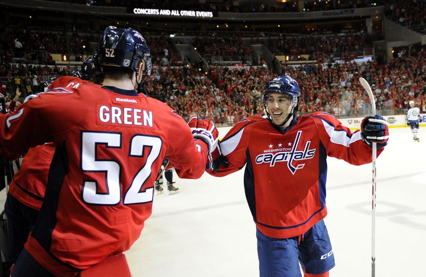 Washington Capitals center Mathieu Perreault, right, celebrates his goal with Mike Green (52) against the Winnipeg Jets during the second period of an NHL hockey game, Tuesday, April 23, 2013, in Washington. (AP Photo/Nick Wass)