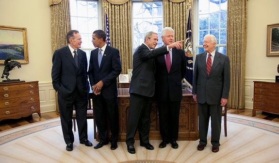 from left. Presidents George H.W. Bush, Barack Obama, George W. Bush, Bill Clinton and Jimmy Carter. Photographs by Eric Draper from Front Row Seat: A Photographic Portrait of the Presidency of George W. Bush(Copyright © 2013). For more information visit www.utexaspress.com