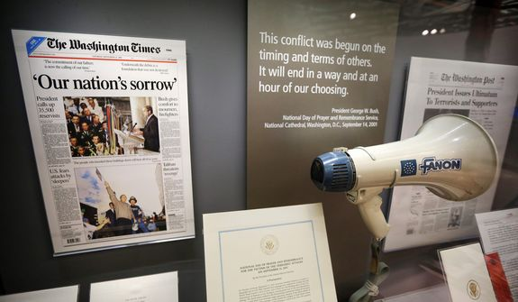 The bullhorn President Bush used at ground zero following the Sept. 11, 2001 terrorist attacks is seen during a tour of the George W. Bush Presidential Center .