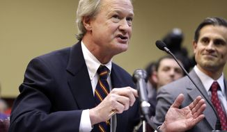 **FILE** Rhode Island Gov. Lincoln Chafee testifies in support of same-sex marriage before the state House Judiciary Committee at the Statehouse in Providence, R.I., on Tuesday, Jan. 15, 2013. (Associated Press)
