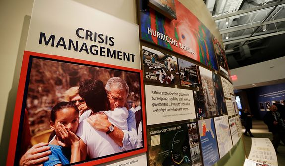 A display about crisis management is seen during a tour of the George W. Bush Presidential Center Wednesday, April 24, 2013, in Dallas.  More than 8,000 people are expected to attend the invitation-only dedication of the center, Thursday, April 25, which will house the presidential library and museum along with the 43rd presidentís policy institute. It opens to the public on May 1. (AP Photo/David J. Phillip)