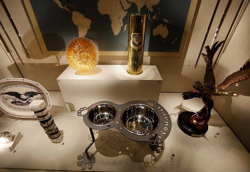 An ornate dog dish is among gifts given to President George W. Bush that are seen on display during a tour of the George W. Bush Presidential Center Wednesday, April 24, 2013, in Dallas. (AP Photo/David J. Phillip)