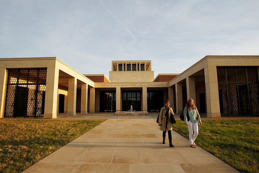 FILE - In this April 5, 2013 file photo, the exterior of the George W. Bush Presidential Center is seen, in Dallas. Former first lady Laura Bush wanted to make sure that the George W. Bush Presidential Center reflected her and her husbandís Texas roots. And it does, right down to the foundation that includes limestone from the Midland area where they grew up and lived when they were first married.  The about 226,000-square-foot center, home to the George W. Bush Presidential Library and Museum along with the 43rd president's policy institute, will be dedicated Thursday, April 25, 2013,  on the campus of Southern Methodist University, which is not far from the Bushes' Dallas home and is also where Laura Bush earned her bachelor's degree in education. The library opens to the public on May 1.(AP Photo/Kim Johnson Flodin)