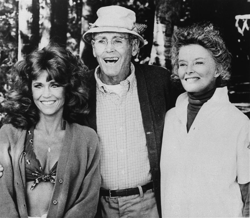 """Jane Fonda (left) co-stars with Henry Fonda, her father, and Katharine Hepburn in the 1981 film """"On Golden Pond."""" (AP Photo)"""