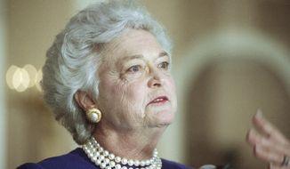 **FILE** Former first lady Barbara Bush (Associated Press)