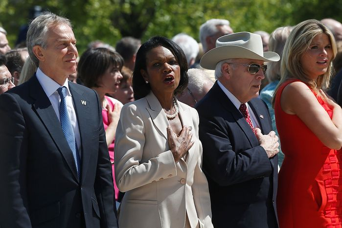 """From left, former British Prime Minister Tony Blair, former Secretary of State Condoleezza Rice, former Vice President Dick Cheney, and former President George W. Bush's daughter Jenna Bush Hager, participate in the singing of """"God Bless America"""" at the dedication of the George W. Bush presidential library on the campus of Southern Methodist University in Dallas, Thursday, April 25, 2013. (AP Photo/Charles Dharapak)"""