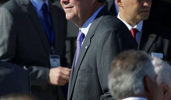 Former Florida Governor Jeb Bush arrives for the dedication of the George W. Bush Presidential Center Thursday, April 25, 2013, in Dallas. (AP Photo/David J. Phillip)
