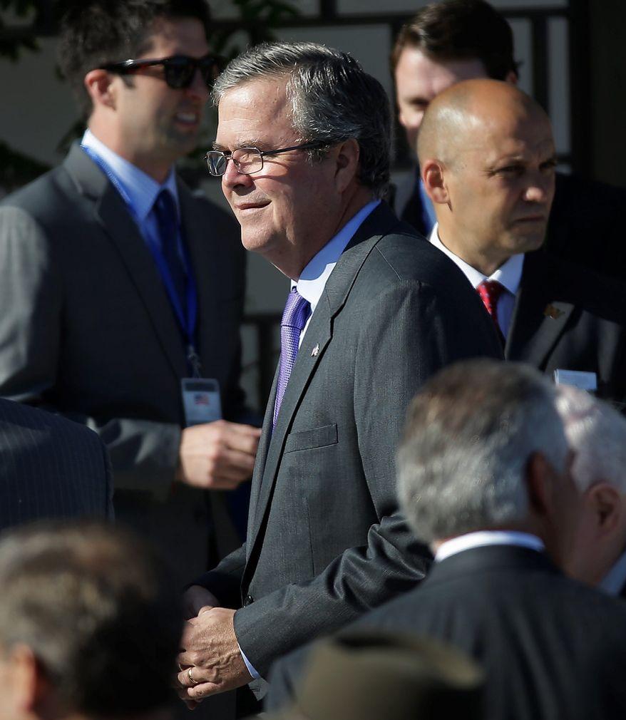 Former Florida Governor Jeb Bush arrives for the dedication of the George W. Bush Presidential Center Thursday, April 25, 2013, in Dallas. (AP Photo/David J. Phillip)