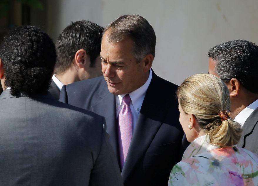 Speaker of the House of Representatives John Andrew Boehner arrives for the dedication of the George W. Bush Presidential Center Thursday, April 25, 2013, in Dallas. (AP Photo/David J. Phillip)