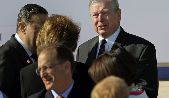 Former Attorney General John Ashcroft arrives for the dedication of the George W. Bush Presidential Center, Thursday, April 25, 2013, in Dallas. (AP Photo/David J. Phillip)