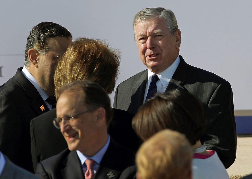 Former Attorney General John Ashcroft arrives for the dedication of the George W. Bush Presidential Center, Thursday, April 25, 2013, in Dallas. (AP Photo/David J. Phillip)