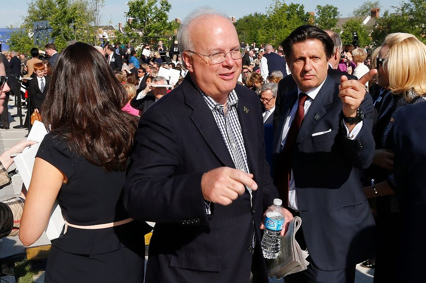 Republican strategist and former White House senior adviser Karl Rove arrives at the dedication of the George W. Bush presidential library on the campus of Southern Methodist University in Dallas, Thursday, April 25, 2013. (AP Photo/Charles Dharapak)