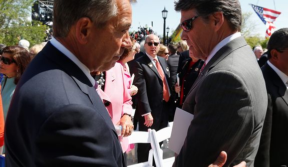 House Speaker John Boehner of Ohio, left, and Texas Gov. Rick Perry stand at the end of the dedication of the George W. Bush presidential library on the campus of Southern Methodist University in Dallas, Thursday, April 25, 2013. (AP Photo/Charles Dharapak)