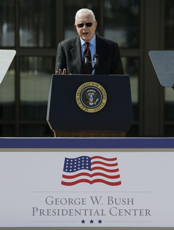 Former president Jimmy Carter speaks during the dedication of the George W. Bush Presidential Center Thursday, April 25, 2013, in Dallas. (AP Photo/David J. Phillip)