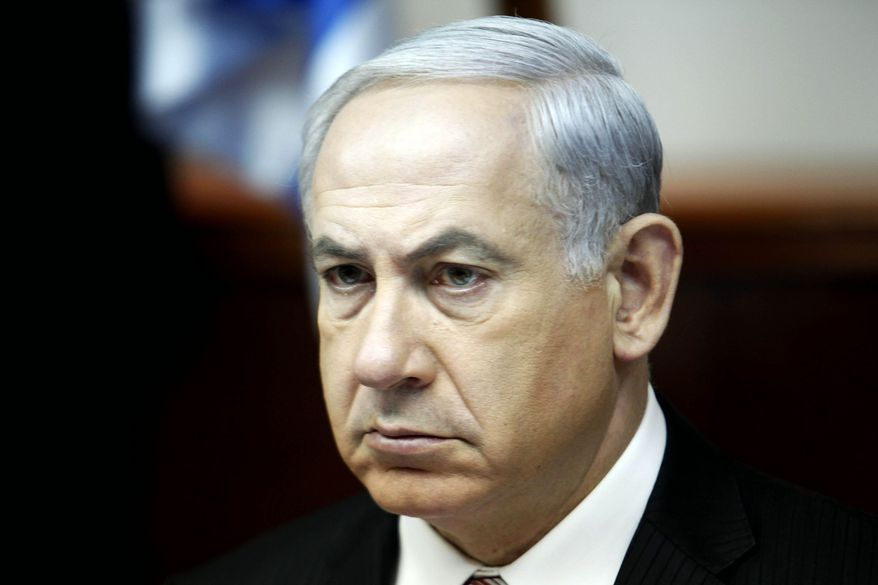 ** FILE ** Israel's Prime Minister Benjamin Netanyahu leads the weekly cabinet meeting in Jerusalem Sunday, April 21, 2013. (AP Photo/Gali Tibbon, Pool)