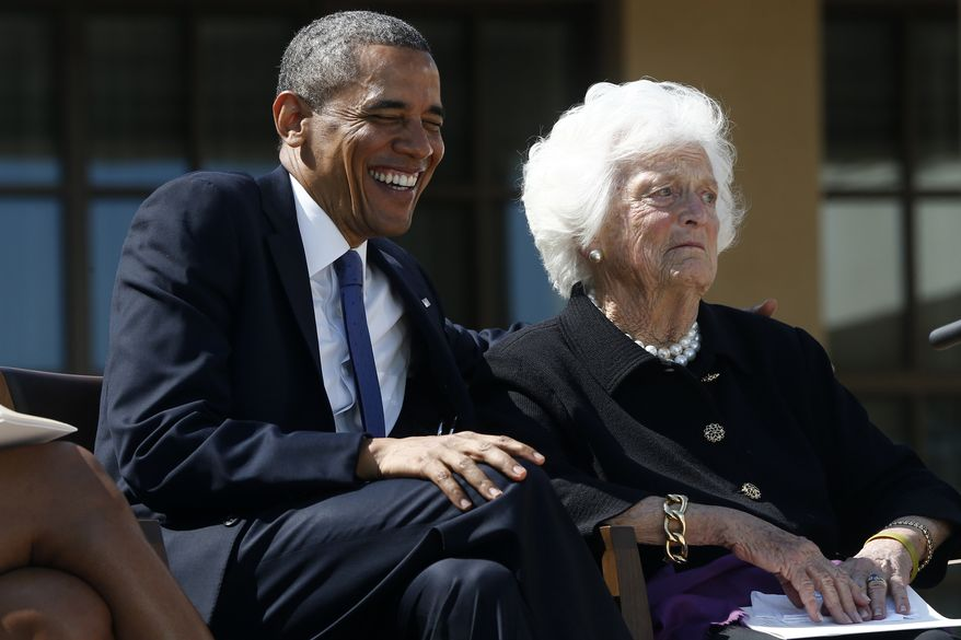 ** FILE ** President Obama shares a laugh with former first lady Barbara Bush at the dedication of the George W. Bush presidential library on the campus of Southern Methodist University in Dallas, April 25, 2013. (AP Photo/Charles Dharapak)