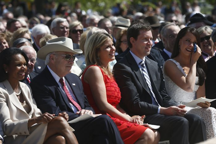 Barbara Bush, right, wipes her eye as former President George W. Bush speaks at the dedication of the George W. Bush presidential library on the campus of Southern Methodist University in Dallas, Thursday, April 25, 2013. Also pictured left to right: former Secretary of State Condoleezza Rice, former Vice President Dick Cheney, daughter Jenna Bush Hager, and husband Henry Hager(AP Photo/Charles Dharapak)