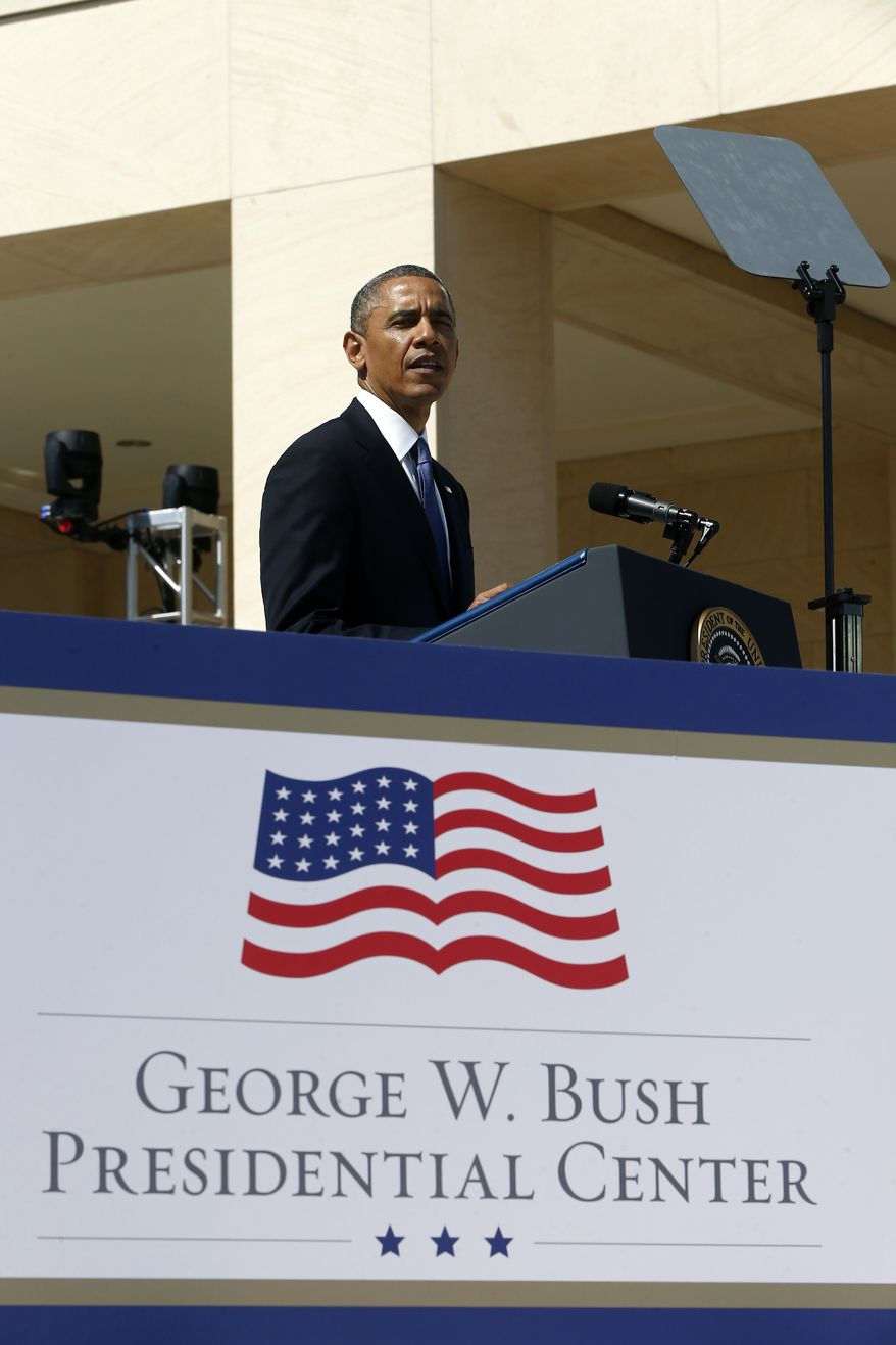 President Barack Obama speaks at the dedication of the George W. Bush presidential library on the campus of Southern Methodist University in Dallas, Thursday, April 25, 2013. (AP Photo/Charles Dharapak)