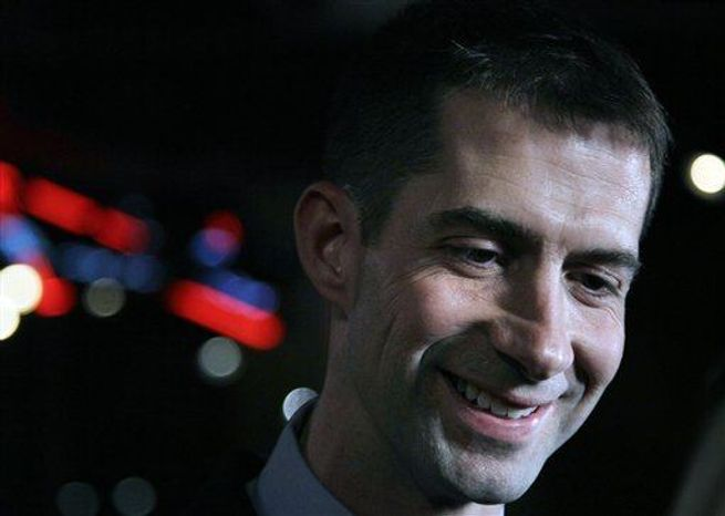 ** FILE ** Rep. Tom Cotton, R-Ark., at a party in Hot Springs, Ark., Tuesday, May 22, 2012. (AP Photo/Danny Johnston)