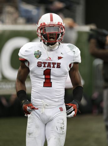 North Carolina State cornerback David Amerson enters the game against Vanderbilt at the Music City Bowl NCAA college football game on Monday, Dec. 31, 2012, in Nashville, Tenn. Vanderbilt won 38-24. (AP Photo/Mark Humphrey)