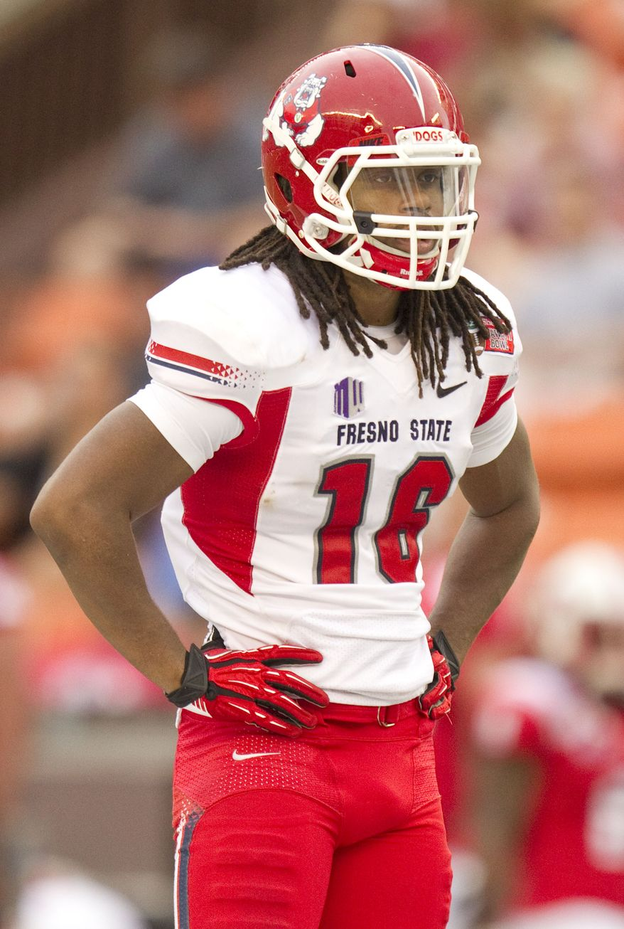 Fresno State safety Phillip Thomas (16) looks on during a break between plays in the third quarter of the Hawaii Bowl in an NCAA college football game Monday, Dec. 24, 2012, in Honolulu. (AP Photo/Eugene Tanner)
