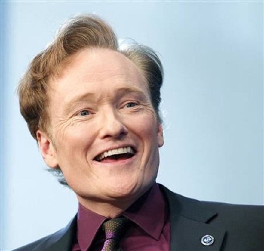 ** FILE **  Comedian Conan O'Brien speaks at the John F. Kennedy Presidential Library in Boston, May 24, 2012. O'Brien will be spending a late night with President Obama at the White House Correspondents'  dinner on April 27. (Associated Press)