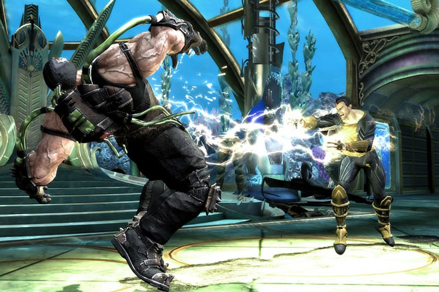 Black Adam blasts Bane in the video game Injustice: Gods Among Us.
