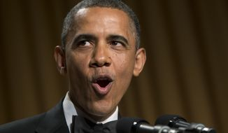 President Obama speaks at the White House Correspondents' Association Dinner at the Washington Hilton Hotel on Saturday, April 27, 2013, in Washington. (AP Photo/Carolyn Kaster)