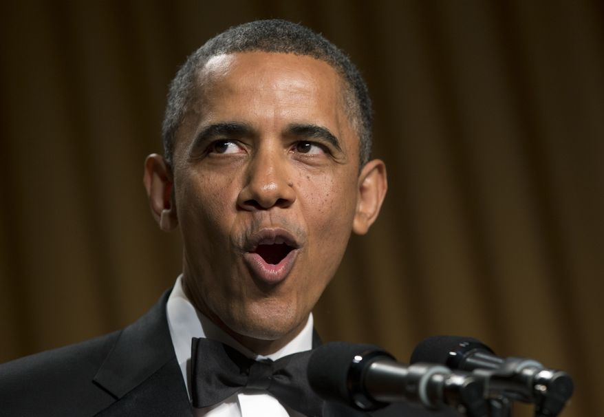 President Obama speaks at the White House Correspondents' Association Dinner at the Washington Hilton Hotel on Saturday, April 27, 2013, in Washington. (AP Photo/Carolyn Kaster)