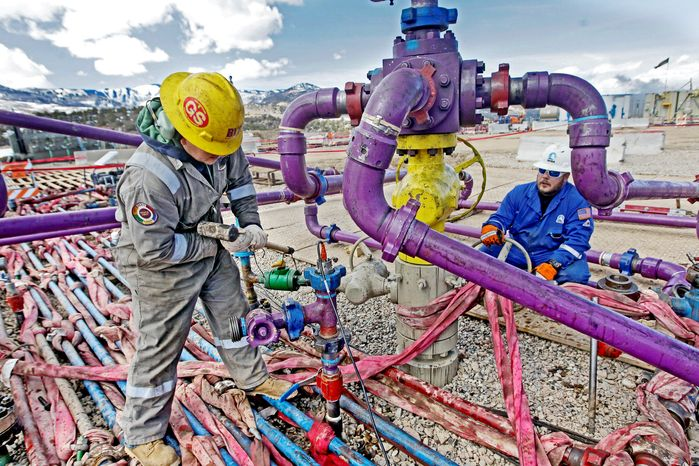 ** FILE ** American technology, along with its geology, has allowed oil and gas to be extracted from shale deposits deep within the bedrock. (Associated Press)