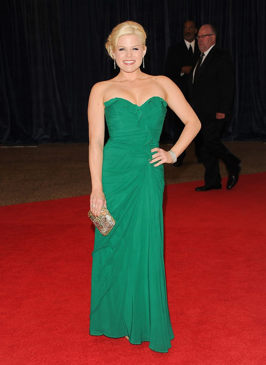 """Actress Megan Hilty from the NBC series """"Smash"""" attends the White House Correspondents' Association Dinner at the Washington Hilton Hotel on Saturday, April 27, 2013, in Washington. (Evan Agostini/Invision/AP)"""