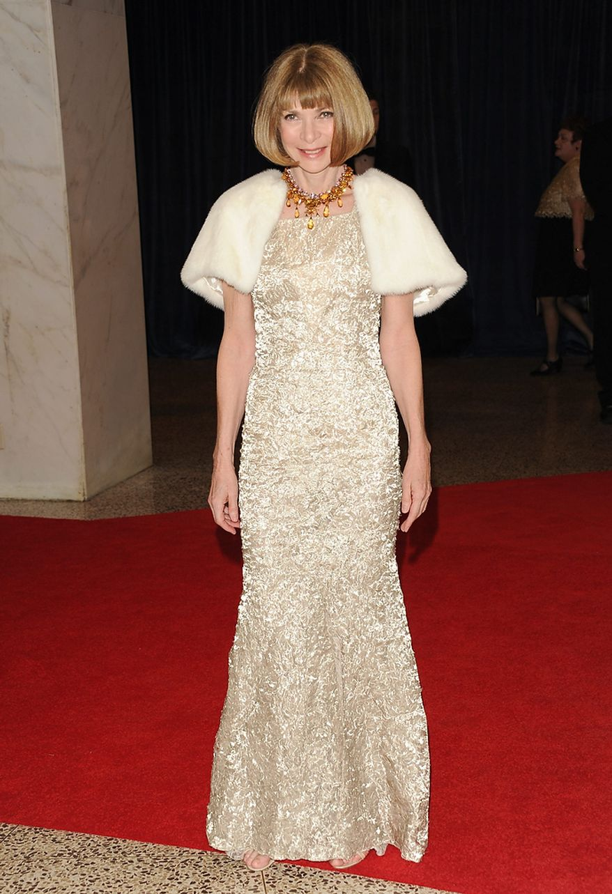 Vogue Editor-in-Chief Anna Wintour attends the White House Correspondents' Association Dinner at the Washington Hilton Hotel on Saturday, April 27, 2013, in Washington. (Evan Agostini/Invision/AP)