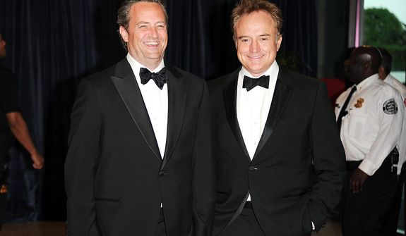 Actors Matthew Perry (left) and Bradley Whitford attend the White House Correspondents' Association Dinner at the Washington Hilton Hotel on Saturday, April 27, 2013, in Washington. (Evan Agostini/Invision/AP)