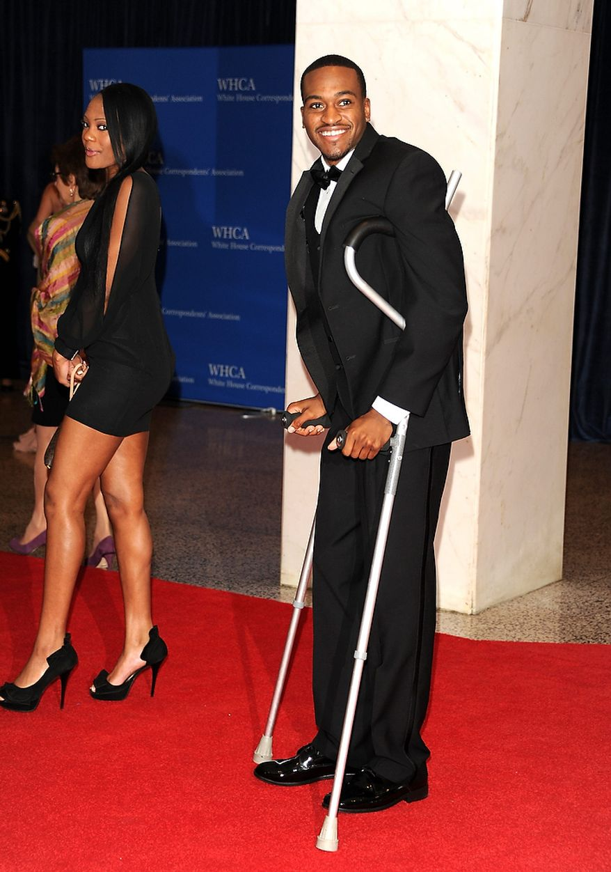 College basketball player Kevin Ware attends the White House Correspondents' Association Dinner at the Washington Hilton Hotel on Saturday, April 27, 2013, in Washington. (Evan Agostini/Invision/AP)