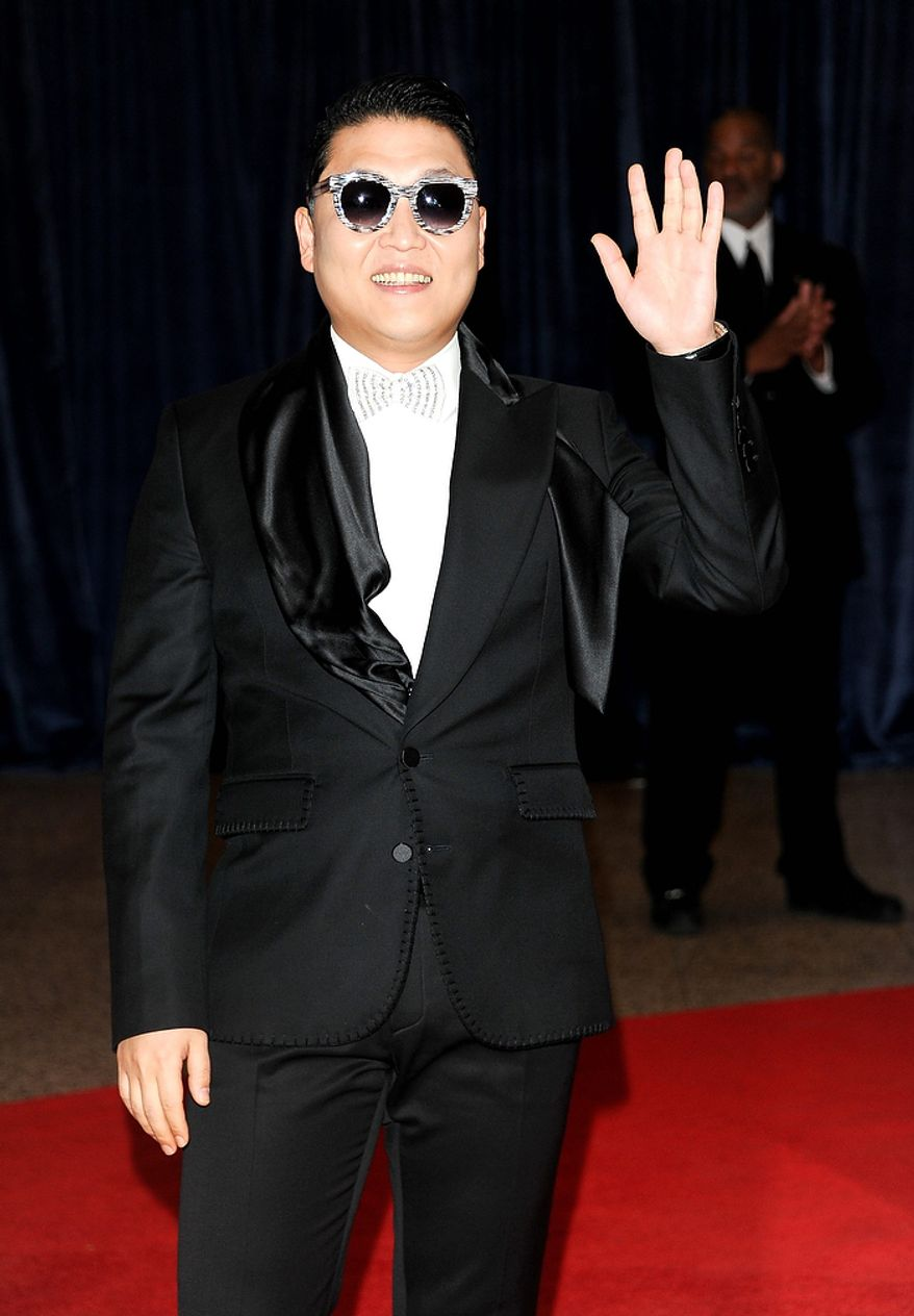 South Korean pop star Park Jae-sang, better known by his stage name, Psy, attends the White House Correspondents' Association Dinner at the Washington Hilton Hotel on Saturday, April 27, 2013, in Washington. (Evan Agostini/Invision/AP)
