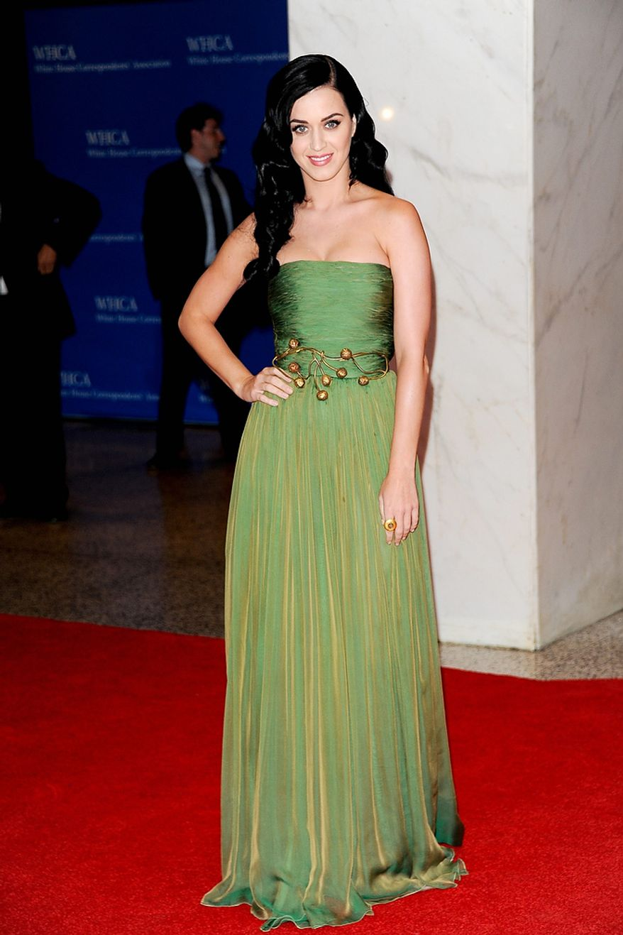 Singer Katy Perry attends the White House Correspondents' Association Dinner at the Washington Hilton Hotel on Saturday, April 27, 2013, in Washington. (Evan Agostini/Invision/AP)