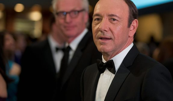 """** FILE ** Actor Kevin Spacey, star of the Washington-set Netflix series """"House of Cards,"""" attends the White House Correspondents' Association Dinner at the Washington Hilton Hotel on Saturday, April 27, 2013, in Washington. (AP Photo/Carolyn Kaster)"""