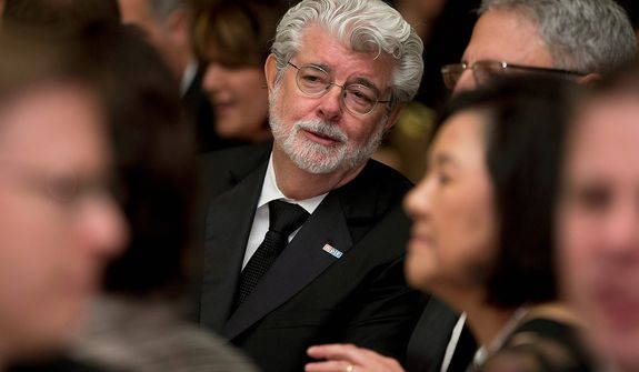 Producer George Lucas attends the White House Correspondents' Association Dinner at the Washington Hilton Hotel on Saturday, April 27, 2013, in Washington. (AP Photo/Carolyn Kaster)